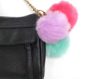 pom pom keychain - faux fur pompon key chain with charm - women's gift - bag charm key chain