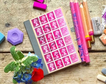 Deep Pink A6 Kraft Notebook - lined pocket journal, upcycled postage stamp collage, retro British Machin stamps, snail mail art, penpal gift