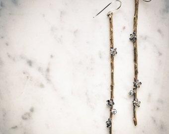 Memories of the Forest: Long Shoulder Duster Earrings, Statement Earrings, Branch Earrings in Sterling Silver, Brass or Gold