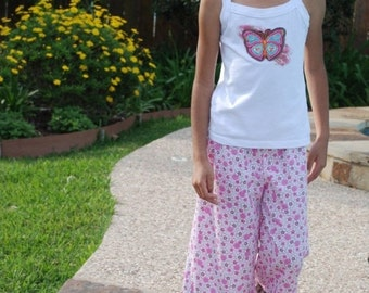 SALE Sheree's Atelier Sweet Harmony Blossoms Organic Cotton Ruffle Pant....Girl's Custom Size 2-10...Eco Friendly Kids