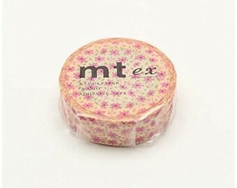 mt ex pink flowers - washi masking tape -15mm x 10m x 1 roll