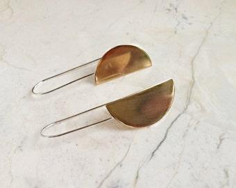 Vertical Arc Earrings. Brass and Sterling Silver. Statement Earrings. Shield Earrings. Hald Moon Earrings. Geometric. Modern. Minimal.
