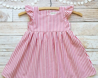 First birthday girl dress One year old girl birthday outfit dress 12 months baby first birthday red and white stipes vintage inspired dress