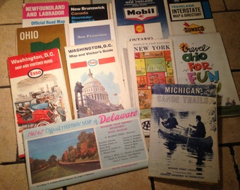Bundle of 1960s Road Maps for Paper Crafting