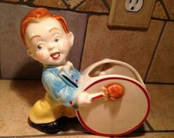 Red Headed Drummer Boy Ceramic Planter