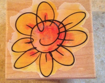 NEW Sunflower Style Wooden Block Rubber Stamp by Hero Arts