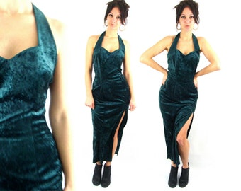 90s emerald queen / velvet halter / sweetheart long slit dress / m