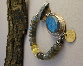 Dreaming in Color - Labradorite set in stelring silver on patterned copper - labradorite and citrine beads - original classic edgy fiery