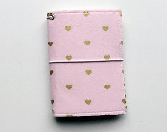 NEW - pink with gold hearts small fauxdori fabric travelers notebook cover, notebook included