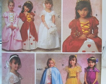 Girl's  Princess Costume Simplicity 8280 Queen of Hearts, Bride, Princess Gowns, Headpiece, Cape Veil, Toddler Dress Up Size 2 - 6 UNCUT