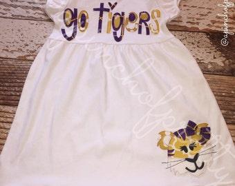 LSU Short Sleeve Ruffle Dress / Football Dress / Louisiana State / Tigers / Geaux Tigers / Tailgate Dress / Football