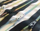 22 Inch YKK nylon coil Rainbow Zippers- 3mm - Black 580 or White 501- ONE Zipper