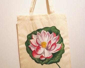 LOTUS FLOWER-Botanical Tote Bag Handpainted