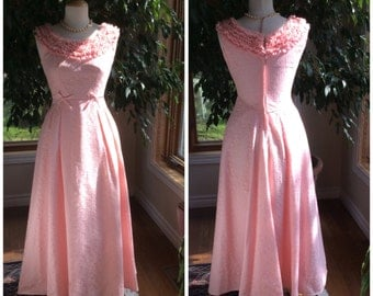 Pink lace prom or evening 1960 gown