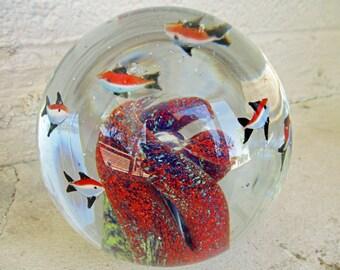 Vintage Blown Murano Art Glass Paperweight Glass Ball Fish Aquarium Sea Ocean Large 5 1/2 lbs.