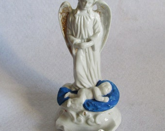 Antique c1860s Angel & Baby Holy Water Font, Old Paris, Staffordshire