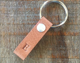 Monogrammed Tawny and Red Leather Keychain - TINY style