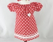 Fits American Girl Doll Clothes Valentine's Day Peasant Dress Fits 18 Inch Dolls Girls Toys Matching Hair Bow