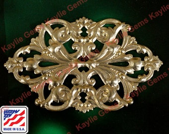 Large Master Piece of Scrolling Leaf Motif Floral Flower Victorian Filigree Stamping Raw Brass- 1 Piece