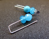 blue stone earrings. small silver earings. turquoise jewelry.
