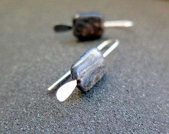 blue kyanite earrings. natural stone jewelry. small silver earings.