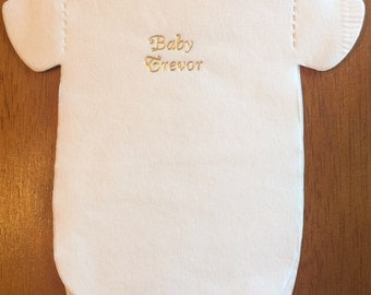 Baby shower personalized gold foil napkins.  Pack of 30.  Baby shirt or bib shaped!
