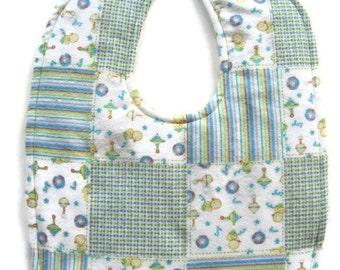 Ready To Ship Reversible Flannel Baby Bib - Reversible Quilt Blocks Flannel Baby Bib - Aqua White Yellow Baby Bib - Gender Neutral #46
