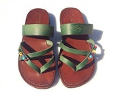 20% OFF Brown Green Decor Moon Leather Sandals for Men & Women