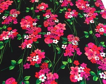 "Psychedelic 60s Neon Floral Fabric// Flower Power Boho Chic Hawaiian Textiles// Cotton Yardage// New Old Stock// 42""x 44"""