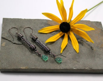 Viking knit Droplet earrings - Copper with Green Agate