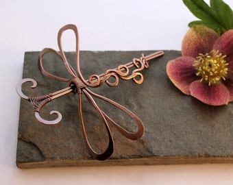 Styled Dragonfly Hair Barrette Or Scarf pin - Smooth Antiqued Copper