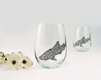 Whale shark glasses - Hand painted stemless white wine glasses - Set of 2