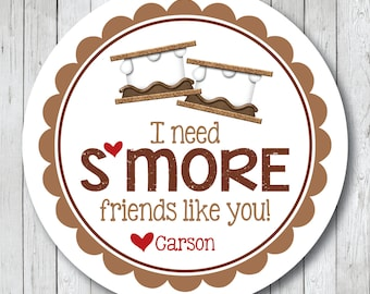S'more Friends Stickers . Personalized Valentine Stickers or Tags, S'more Tags