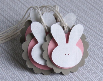 6 Easter Bunny Tags, Easter Gift Tags, Bunny Tags .  2 inch