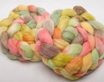 Hand painted 60 Polwarth, 20% BABY ALPACA, 20 Tussah Silk,special blend  roving fibre fiber felting spin