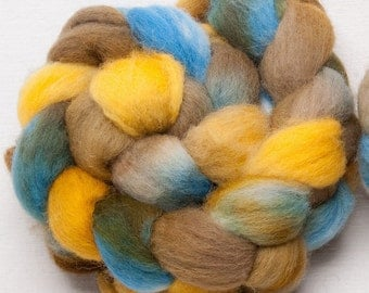 Hand dyed roving, Cheviot, 100g, painted British wool tops, roving,  fibre , fiber, spinning wool, Colour; Rockpool