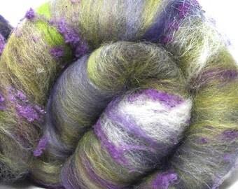 Art batts, textured, hand carded, 100g,  hand dyed Falkland,  Merino, BFL, Angelina, silk noil, spin, felt, Nuno,  colour ; Paradiso