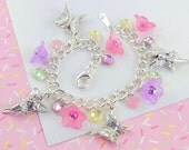 Girls Charm Bracelet --  Pink and Purple Fairy and Butterfly Pewter Charm Bracelet   --   Annabelle   --
