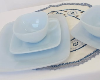 Fire King Azurite Blue Charm Medium Square Plate Cups Saucers Anchor Hocking Mid Century Dishes Pale Baby Blue Milk Glass Table Ware