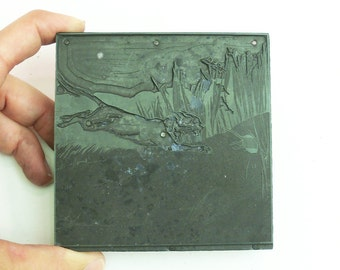"""Antique Vintage 1920's Letterpress Printing Block large Running Cat Chasing Mouse 4"""" across"""