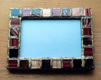 Gold Bronze Burgundy Picture Frame (holds a 4 x 6 photograph)