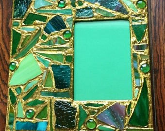 Gold Glitter Green Stained Glass Mosaic Picture Frame (holds a 5 x 7 photograph)