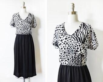 animal print dress, vintage 80s leopard print dress, black and white large dress