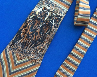 Vintage Racetrack Jockey and Race Horse Necktie Men's Fashion Accessory Tie from Bullocks 60's 70's Retro Fabric