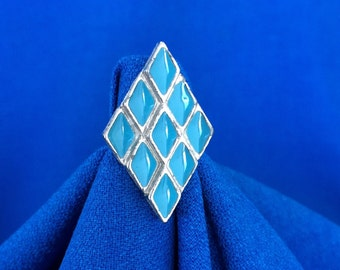 Vintage Diamond Shaped Ring with Turquoise Enamel Retro 60's Chic 70's Costume Jewelry
