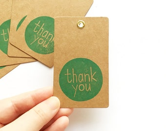 thank you gift tags. hand stamped kraft paper hang tags. birthday wedding baby shower thank you. diy holiday gift wrapping. set of 5