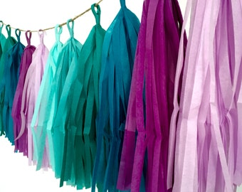 MERMAID / tissue paper tassel garland / party garland / mermaid party decorations / birthday party decorations / fringe banner / aqua colors