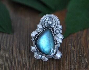 Sterling Labradorite Ring, Flower Ring, Oxidised Sterling Silver Ring, Gemstone Metalwork Ring, Statement Ring
