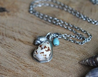 Sterling Shell Turquoise Necklace, Oxidised, Sterling Silver Gemstone Charm Necklace - Shoreline Necklace No.10