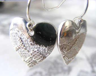 Fine Silver Lace Heart Earrings